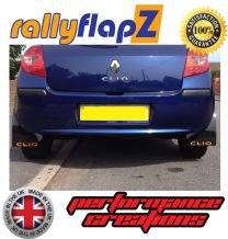 CLIO MK3 (2005-2012) BLACK MUDFLAPS (Logo Orange)